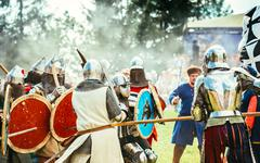 Historical restoration of knightly fights on festival of medieva Stock Photos