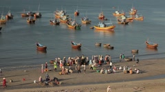 Traditional Vietnamese fishing boats in a small harbor. Stock Footage
