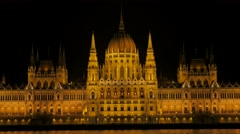 National Parliament building details  in Budapest and river Danube by the nig Stock Footage