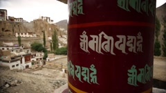 Prayer wheel in Lhasa Stock Footage