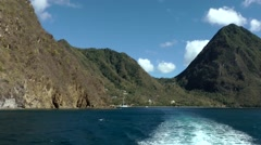 "St. Lucia Caribbean Sea 133 bay ""Anse des Pitons"" from sea side with stern wave Stock Footage"
