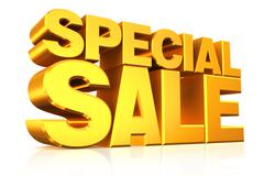 Stock Illustration of 3D gold text special sale.