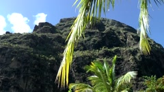 St. Lucia Caribbean Sea 130 big Piton mountain behind palm leaves Stock Footage