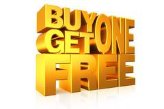 3D gold text buy 1 get 1 free. - stock illustration