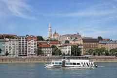 Fisherman bastion and Danube river Budapest cityscape Stock Photos