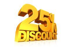 3D render gold text 25 percent discount. Stock Illustration