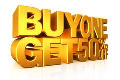 3D gold text buy 2 get 50 percent off. - stock illustration
