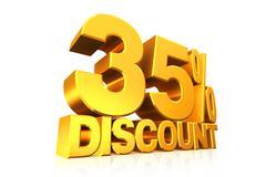 3D render gold text 35 percent discount. Stock Illustration