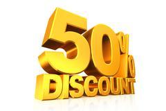 3D render gold text 50 percent discount. Stock Illustration
