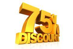 3D render gold text 75 percent discount. - stock illustration