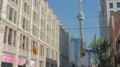 Queen West Toronto CN Tower Intersection Closeup Stock Footage