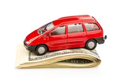 car on dollar bills - stock photo