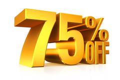 3D render gold text 75 percent off. - stock illustration