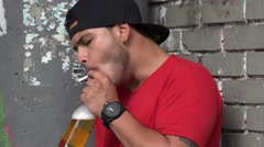 Nervous Alcoholic Smoker Stock Footage