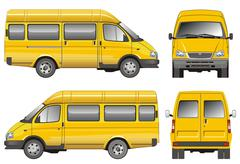 Yellow passenger van Stock Illustration