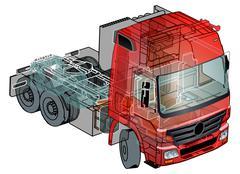 Semi-truck infographics cutaway Piirros