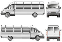 Stratch passenger mini-bus Stock Illustration