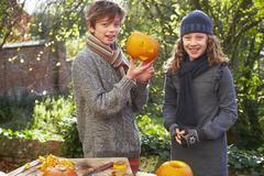 Children carving pumpkins together Stock Photos