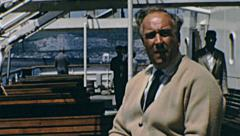 Passengers on a ship from Dover to Calais in 1967 Stock Footage