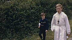 Stock Video Footage of France 1967: children dressed for the first communion
