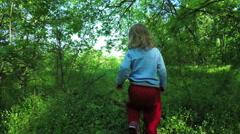 Walk in forest girls Stock Footage
