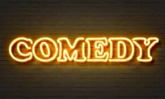 Comedy neon sign - stock illustration