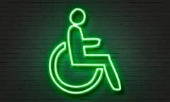 Disabled neon sign - stock illustration