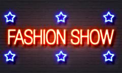 Fashion show neon sign - stock illustration