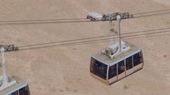 Gondola, Cable Car up and down at Masada Stock Footage