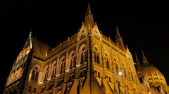 Parliament of Budapest facades by the night lights  slow tilting 4K 2160p Ult Stock Footage