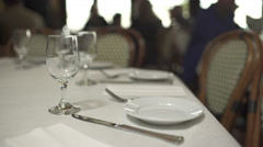 Scene of a place setting in a restaurant Stock Footage