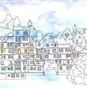 Residential Building of the City of Vienna, Hundertwasser House Stock Illustration