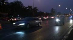 Night road traffic in Bangkok city Stock Footage