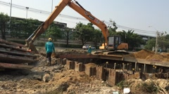 road under construction in Bangkok - stock footage