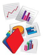Business stock charts Vector Cartoon Illustration - stock illustration