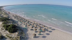 Flight over beautiful Es Trenc Beach - Aerial Flight Stock Footage