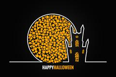 Halloween house full moon design background Stock Illustration