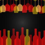wine glass bottle art design background - stock illustration