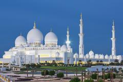 View of famous Abu Dhabi Sheikh Zayed Mosque - stock photo