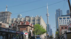 Queen West Toronto Intersection CN Tower Wide1 Stock Footage