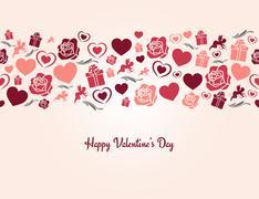 valentines day heart seamless background - stock illustration