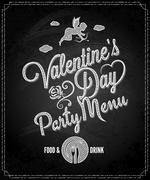 valentines day chalkboard menu background - stock illustration
