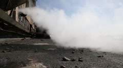 The flow of steam in the courtyard Stock Footage