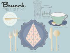 BRUNCH TABLE SETTING - stock illustration