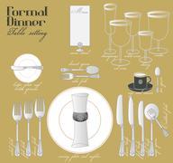 FORMAL DINNER TABLE SETTING - stock illustration