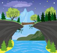Beauty landscape with lake and mountain background Stock Illustration