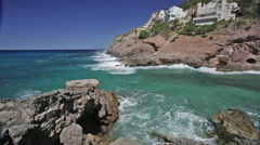 Medium waves at Cala Carbo, Mallorca Stock Footage
