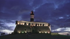 Night Time Lapse at  the light house  Farol da Barra in salvador - stock footage