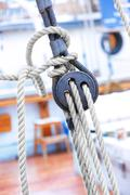 Ropes and fixing arrangements on a sailboat Stock Photos