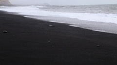 View of black beach sea Stock Footage